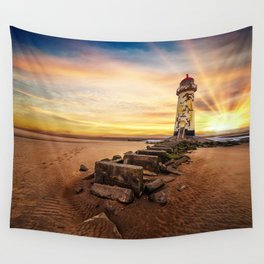 Lighthouse Sunset Wales Wall Tapestry