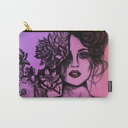 Sunset Succulent Babe | Sunset | Succulents | Cacti | Cactus | Succulent | Portrait | Pink | Orange Carry-All Pouch