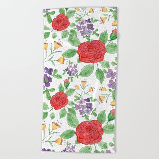 Watercolor floral pattern .8 Beach Towel