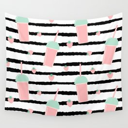 cute lovely pattern background with strawberry smoothies on black brush Wall Tapestry