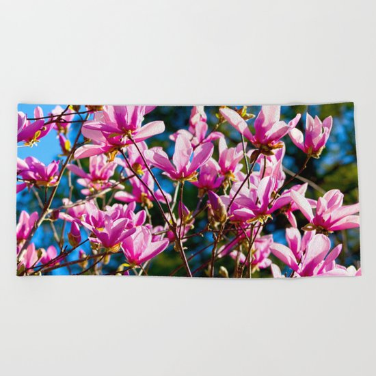 Pink Flowers In The Sun Beach Towel