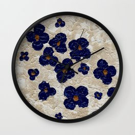 Abstract Blue Flowers Wall Clock