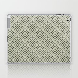 Vintage chic green black geometrical floral pattern Laptop & iPad Skin