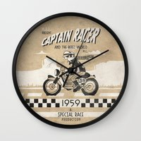 cafe racer Wall Clocks featuring CAPTIAN RACER by Morselli Mattia