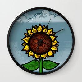 kitschy sunflower Wall Clock
