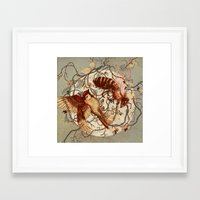 wings Framed Art Prints featuring Honey & Sorrow (grey) by Teagan White