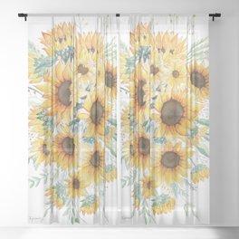 Loose Watercolor Sunflowers Sheer Curtain