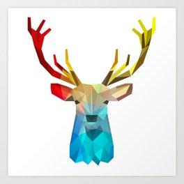 Modern geometric colorful caribou illustration Art Print