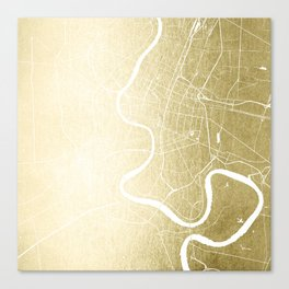 Bangkok Thailand Minimal Street Map - Gold Metallic and White Canvas Print