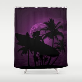 Purple Dusk with Surfergirl in Black Silhouette with Longboard Shower Curtain