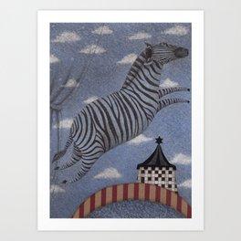 Zebra in the Clouds Art Print