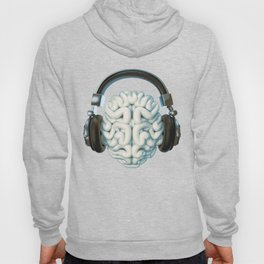 Mind Music Connection /3D render of human brain wearing headphones Hoody