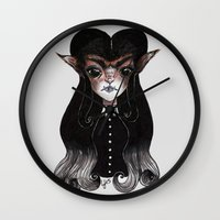 werewolf Wall Clocks featuring Werewolf by Leah Jade Art