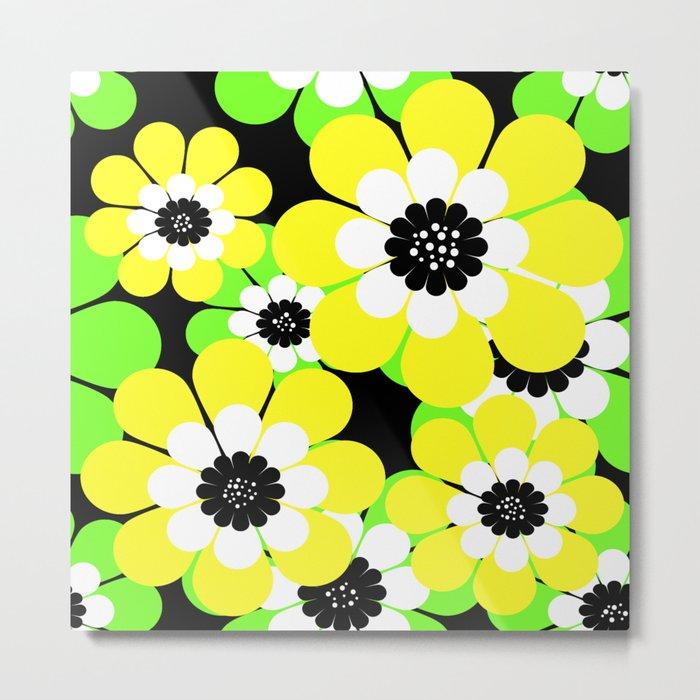 Yellow green bright floral pattern . Metal Print