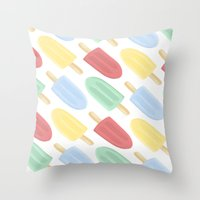 popsicle Throw Pillows featuring Popsicle by Laura Barclay