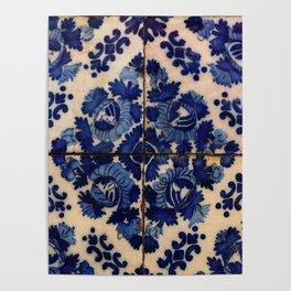 Blue old portuguese tile Poster