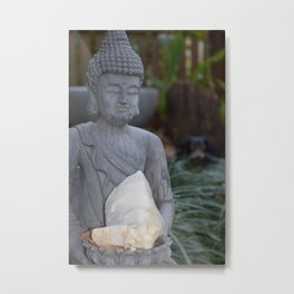 Budda holding a Crystal Metal Print