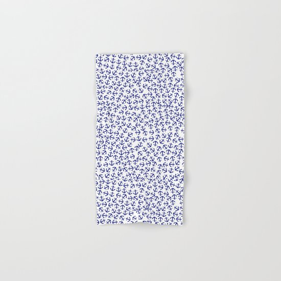 Maritime Anchors pattern- blue anchors on white backround Hand & Bath Towel