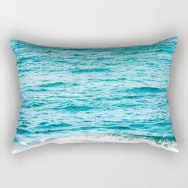 Teal Ocean Wave Photography Rectangular Pillow