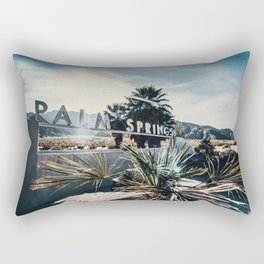 Palm Springs Sign Sun Rays Rectangular Pillow