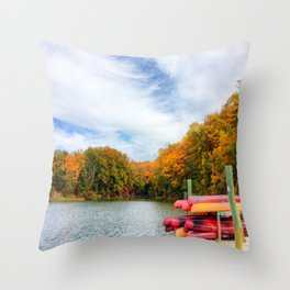 Fall landscape on Severn River with kayaks | Annapolis, Maryland Throw Pillow