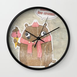 Icecream Bear Wall Clock