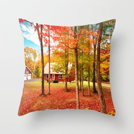 new england cottage Throw Pillow