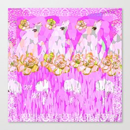 PINK ROSES AND GIRLS Canvas Print