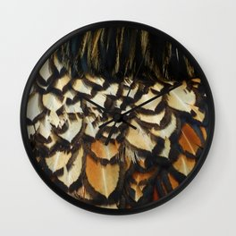Gold Laced Wyandotte Feathers Wall Clock