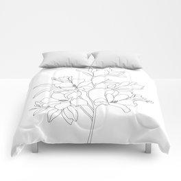 Minimal Line Art Magnolia Flowers Comforters