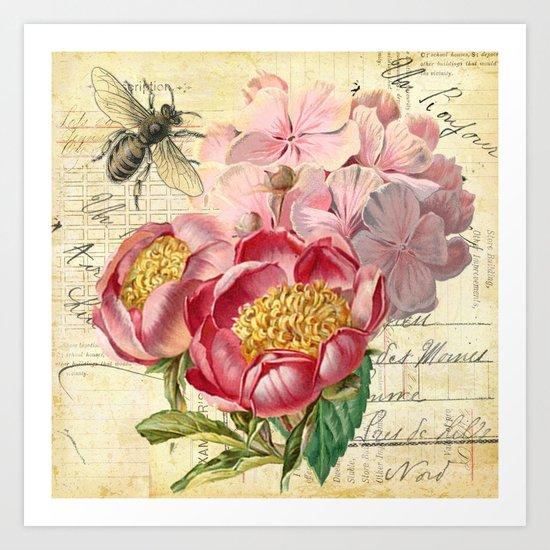 Vintage Flowers #20 Art Print