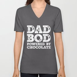 Dad Bod Powered By Chocolate Funny Food Lovers Father Figure Gifts Idea Unisex V-Neck