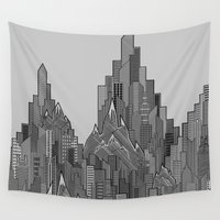 buildings Wall Tapestries featuring Buildings & Mountains  by parallelish