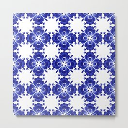 Gzhel style ornament of blue stylized flowers Metal Print