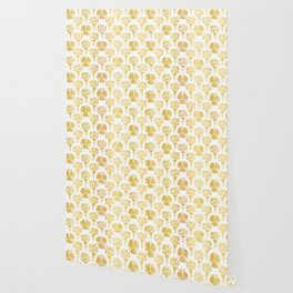 Luxury Gold Foil Flower Damask, Seamless Vector Pattern, Hand Drawn Metallic Wallpaper