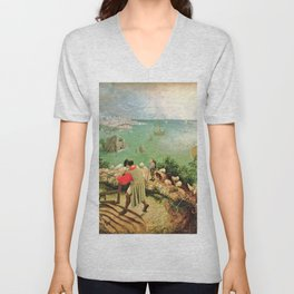 Landscape With The Fall Of Icarus Painting Pieter Bruegel The Elder Unisex V-Neck