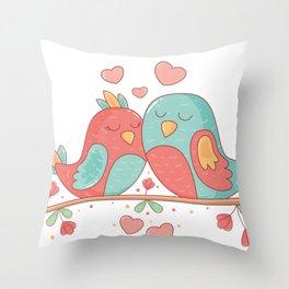Watercolor Cute Birds Throw Pillow
