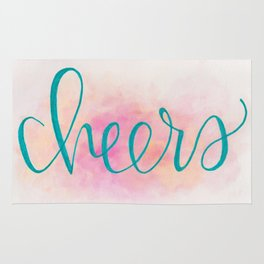 Cheers Hand Lettered Watercolor Art Rug