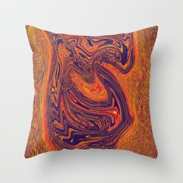 Red and blue merging liquid Throw Pillow