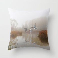 Cinnamon Teal Ducks in the Mist Throw Pillow