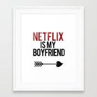 netflix Framed Art Prints featuring Netflix is my Boyfriend by RexLambo