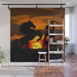 Cowboy at sunset Wall Mural