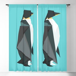 Fractal geometric emperor penguin Blackout Curtain