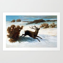 Gustave Courbet Deer Running in the Snow Art Print
