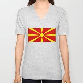 Flag of Macedonia Unisex V-Neck