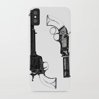 guns iPhone & iPod Cases featuring Two Guns by Broenner