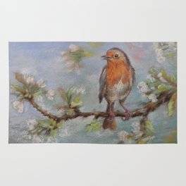 Red Robin Small bird on a blooming twig Wildlife spring scene Pastel drawing Rug