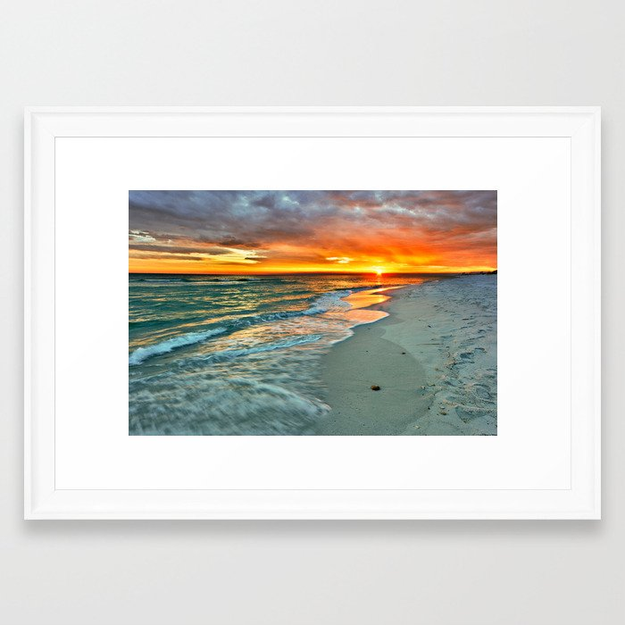 Orange Sunset Green Waves Beach Fine Art Prints Framed Art Print by ...