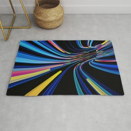 flow of neon lines in a tube Rug