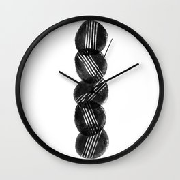 Black and White Potato Print by Emma Freeman Designs Wall Clock